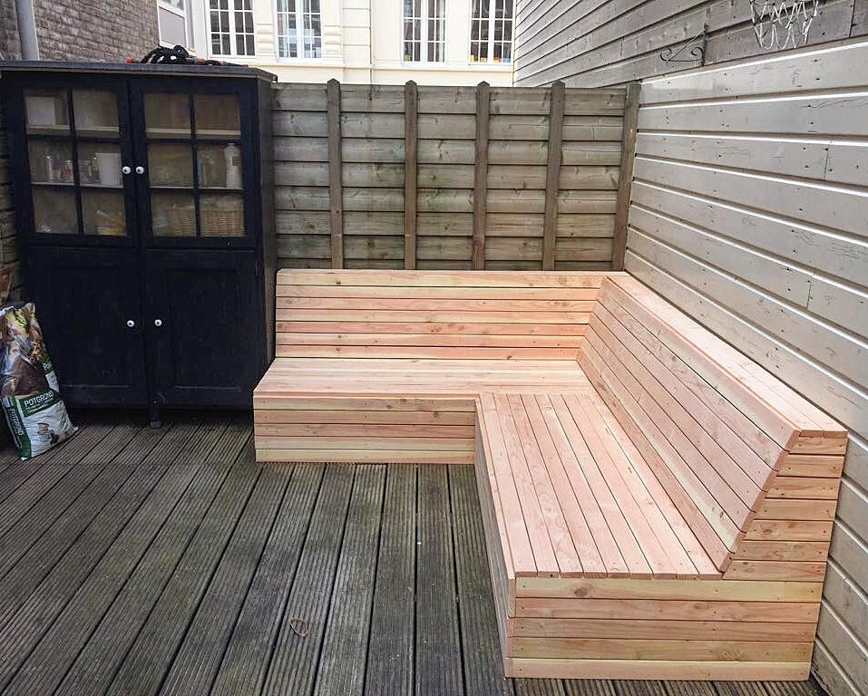 Robuuste houten tuin hoekbank van milieuverantwoord douglas hout