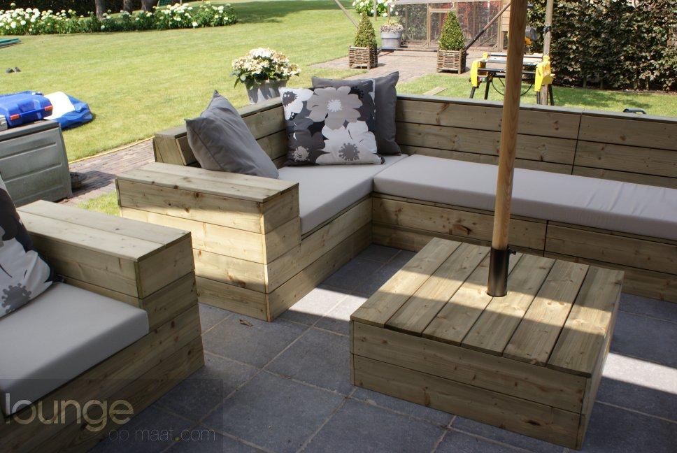 Loungeset Tuin Hout : Houten tuin lounge loungebank hoekbank loungeset tuin bank op